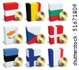 Software boxes with colors of national flags. Europe set 1 - stock vector