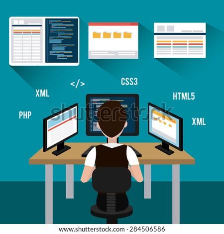 Software design over blue background, vector illustration. - stock vector