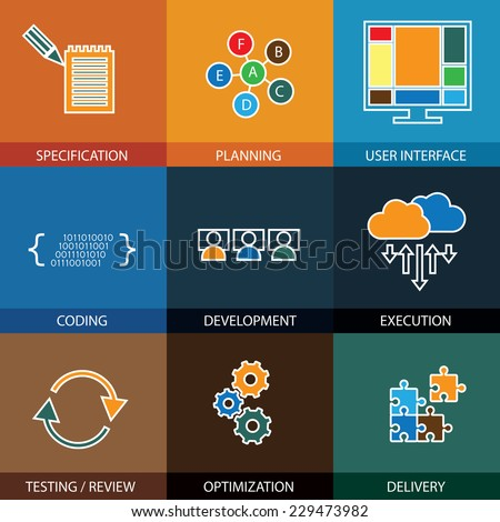 software development life-cycle process - concept vector line icons. This graphic represents steps like specification & planning, coding & development, execution & testing, optimization & delivery - stock vector