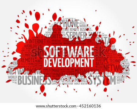 Software development word cloud collage, business concept background - stock vector