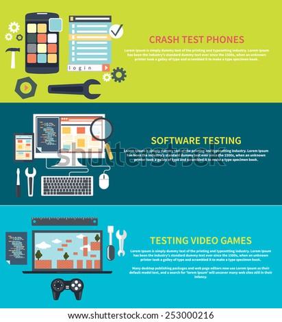 Software development workflow process coding testing analysis concept banner in flat design. Testing video games. Game development concept item icons. Repairing mobile phone concept. Crash test phones - stock vector