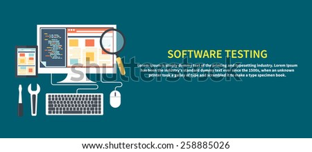 Software development workflow process coding testing analysis concept banner in flat design - stock vector