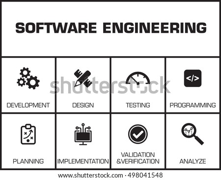 Software Engineering Chart Keywords Icons Stock Vector 498041548