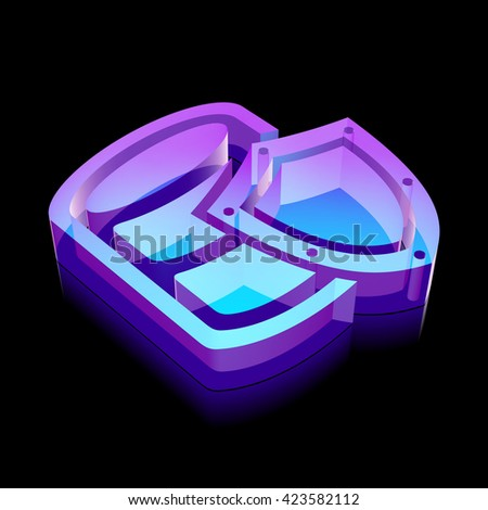 Software icon: 3d neon glowing Database With Shield made of glass with reflection on Black background, EPS 10 vector illustration. - stock vector