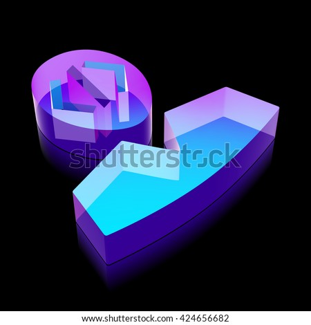 Software icon: 3d neon glowing Programmer made of glass with reflection on Black background, EPS 10 vector illustration. - stock vector