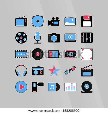 software media icons set in color