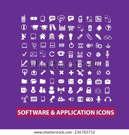 software, mobile, application, app icons, signs set, vector - stock vector