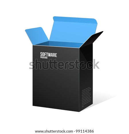 Software Package Box Opened Black Inside Blue - stock vector
