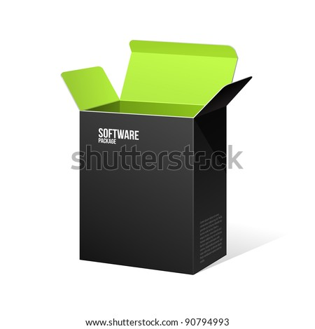Software Package Box Opened Black Inside Green - stock vector