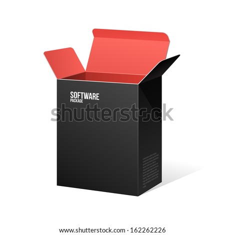Software Package Box Opened Black Inside Red - stock vector