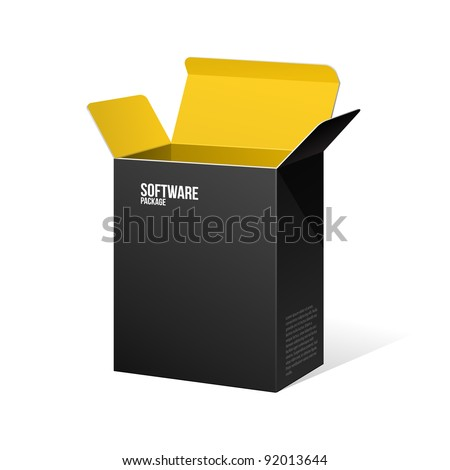 Software Package Box Opened Black Inside Yellow Orange - stock vector