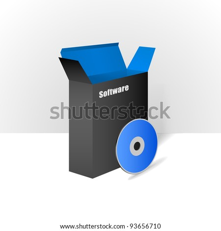 Software Package Carton Blank Box Opened Black and Blue With CD Or DVD Disk