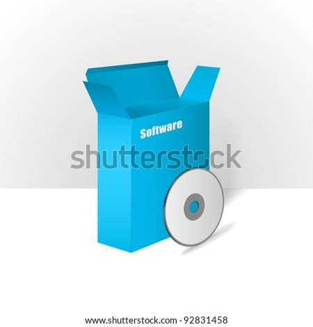 Software Package Carton Blank Box Opened blue With CD Or DVD Disk - stock vector
