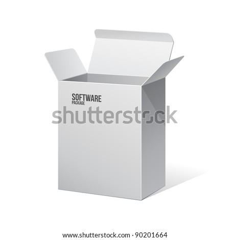 Software Package Carton Blank Box Opened White - stock vector