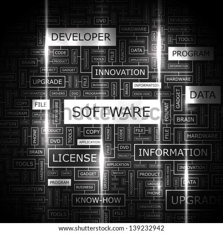 SOFTWARE. Word cloud concept illustration. - stock vector