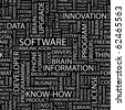 SOFTWARE. Word collage on black background. Illustration with different association terms. - stock photo