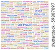 SOFTWARE. Word collage on white background. Illustration with different association terms. - stock vector
