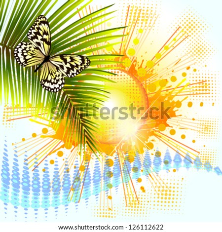 Solar abstraction with palm leaves. vector - stock vector