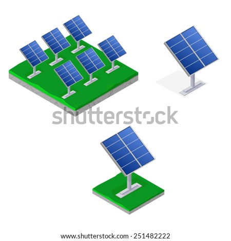 Solar array icon set. Isometric solar panels. - stock vector