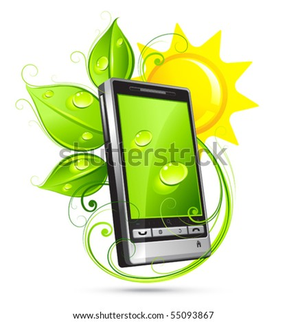 Solar composition with green phone