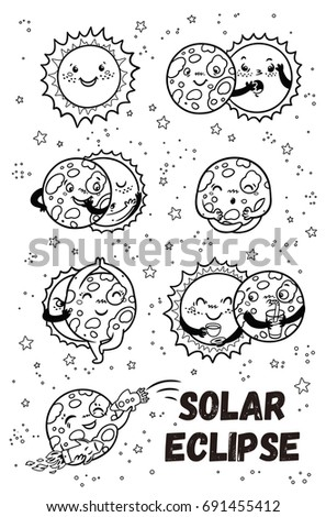 Solar Eclipse In Phases Outline Set