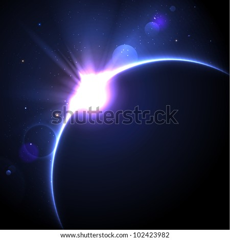 Solar eclipse vector background with stars and lens flare - stock vector