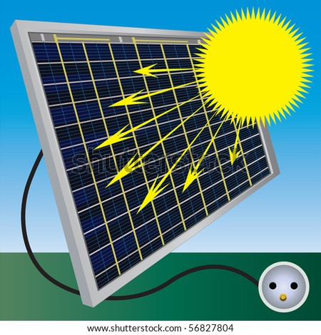 Solar electric panel produce electricity. Vector color illustration. - stock vector