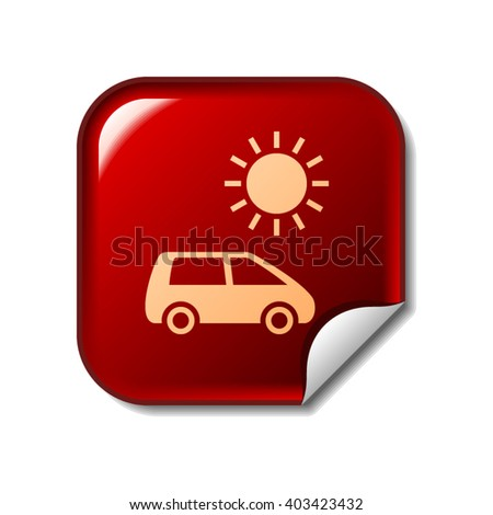 Solar energy car icon on red sticker - stock vector