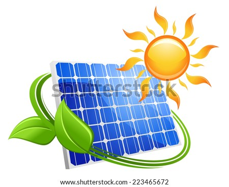 Solar energy eco concept with a blue photovoltaic panel under a hot yellow sun with curling green leaves, vector illustration on white - stock vector