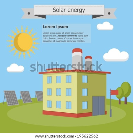 solar energy factory panels ecology industry - stock vector