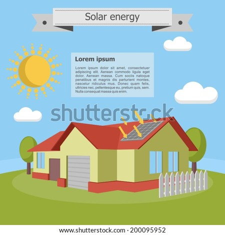solar energy house villa panel isometric energetics ecology - stock vector