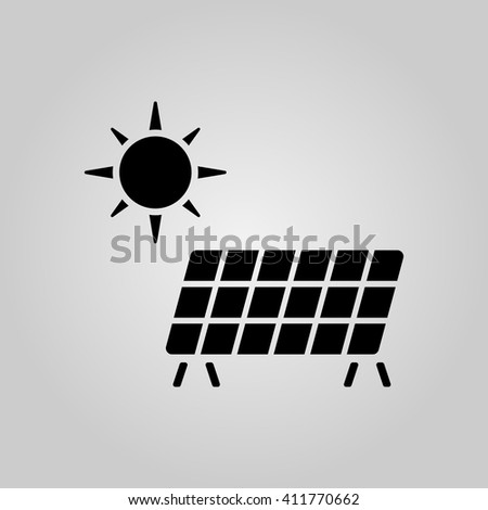 Solar energy icon vector, solid illustration, pictogram isolated on gray - stock vector