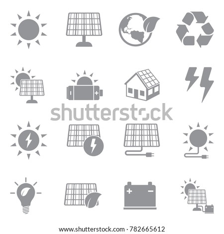 Solar Energy Icons. Gray Flat Design. Vector Illustration.
