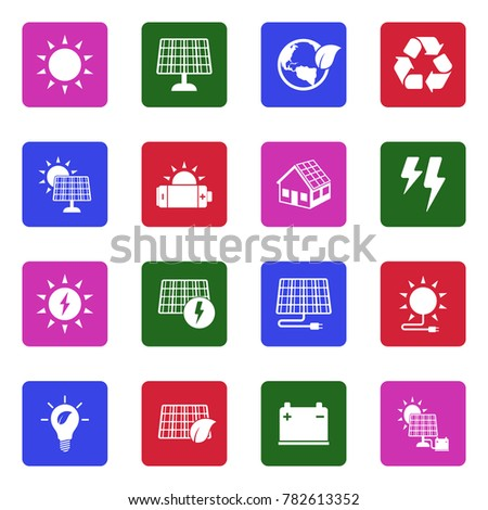 Solar Energy Icons. White Flat Design In Square. Vector Illustration.