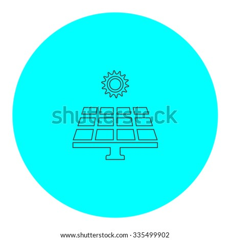 Solar energy panel. Black outline flat icon on blue circle. Simple vector illustration pictogram on white background - stock vector