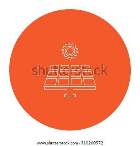 Solar energy panel. Flat outline white pictogram in the orange circle. Vector illustration icon - stock vector