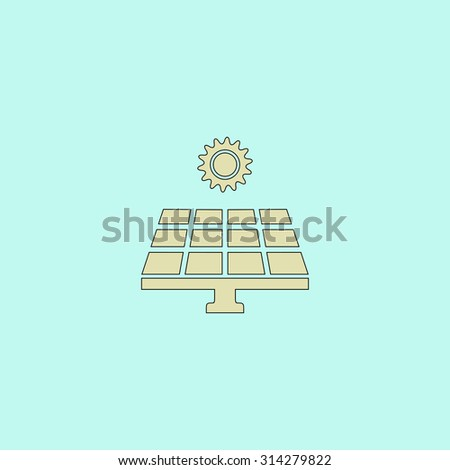 Solar energy panel. Flat simple line icon. Retro color modern vector illustration pictogram. Collection concept symbol for infographic, logo and project - stock vector