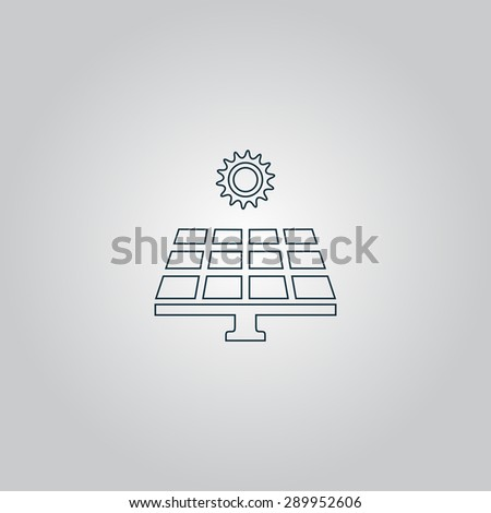 Solar energy panel. Flat web icon or sign isolated on grey background. Collection modern trend concept design style vector illustration symbol - stock vector