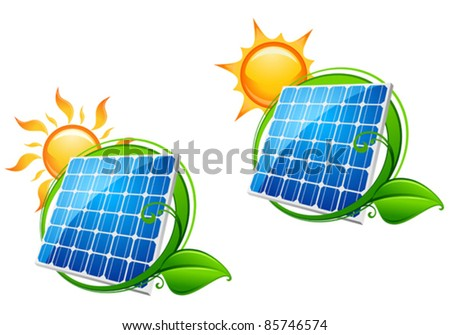 Solar energy panel icon with sun and green leaves for ecology or innovation concept, such a logo. Rasterized version also available in gallery - stock vector