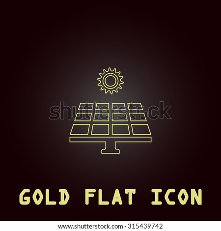 Solar energy panel. Outline gold flat pictogram on dark background with simple text.Vector Illustration trend icon - stock vector