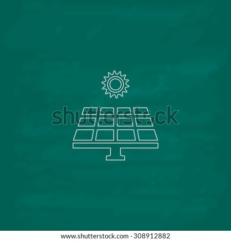Solar energy panel. Outline vector icon. Imitation draw with white chalk on green chalkboard. Flat Pictogram and School board background. Illustration symbol - stock vector