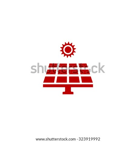Solar energy panel. Red flat icon. Vector illustration symbol - stock vector