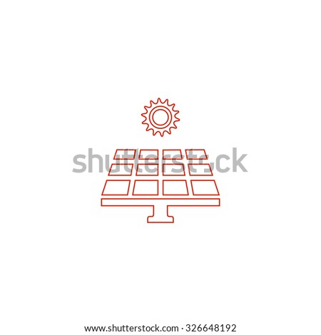Solar energy panel. Red outline vector pictogram on white background. Flat simple icon - stock vector