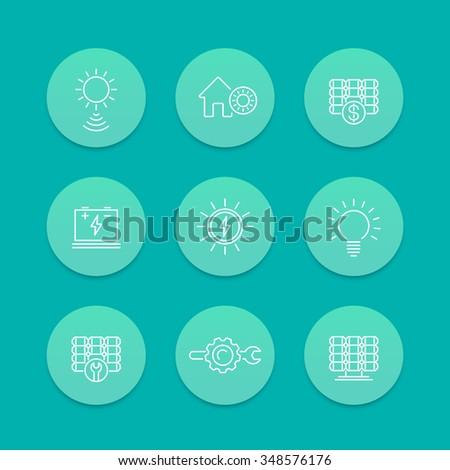 Solar energy, solar power, panels installation, line icons, aquamarine set - stock vector