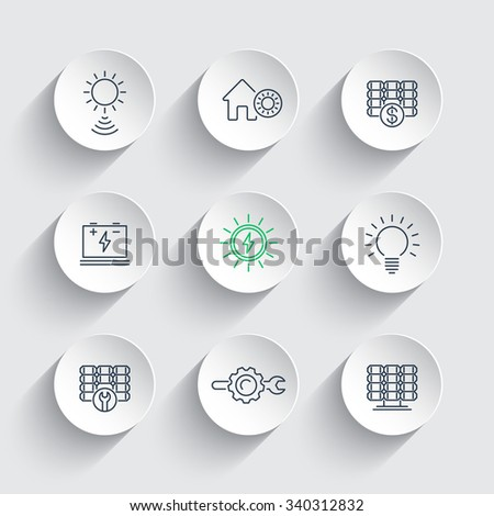 Solar energy, solar power, panels, line icons on round 3d shapes, vector illustration - stock vector