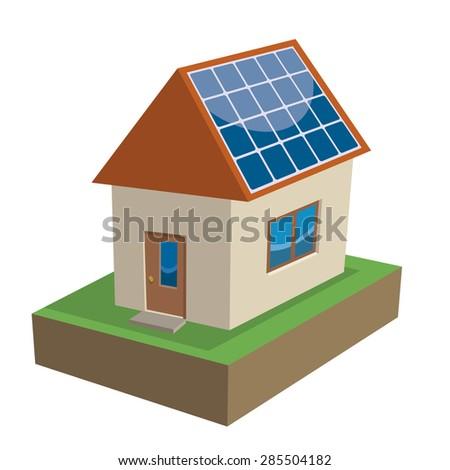 solar house, solar roof panels  - stock vector