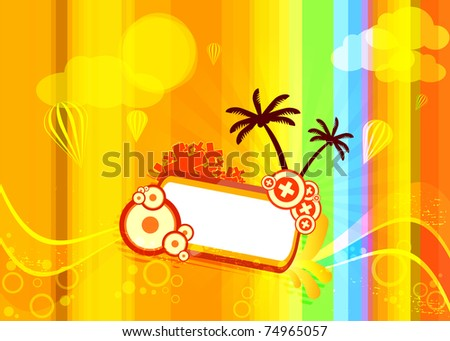 Solar illustration with palm trees on a striped background