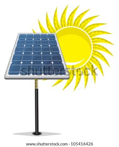 Solar Panel and sun - stock vector