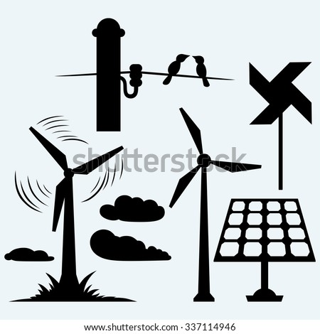 Solar panel and windmill, wires on a pole. Isolated on blue background. Vector silhouettes - stock vector