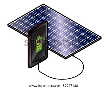 Solar panel charging a tablet or smart phone. - stock vector